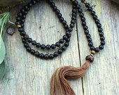 Beautiful golden black obsidian gemstone mala necklace