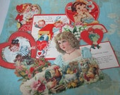 Vintage Valentines day cards 9 pieces lot J