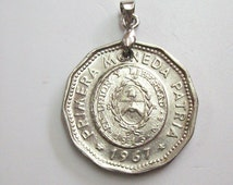 Vintage Argentine Coin Pendant made from Genuine 25 Pesos 1967. Woman, Sun. Gift. Coat of Arms. 49th Anniversary.49th Birthday. art-0596-76