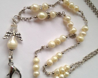 CBL003 White Pearly Angels Lanyard