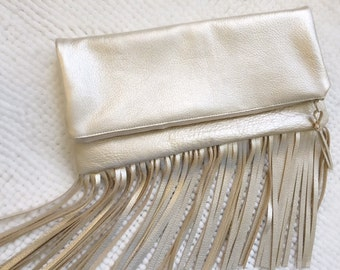 Metallic Champagne Fringe Foldover Leather Clutch