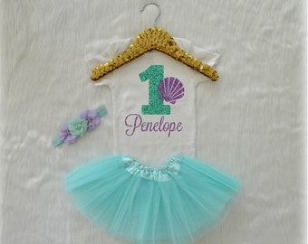 Baby Girl Mermaid Sea Shell First Birthday Bodysuit, One Mint Aqua Glitter with Lavender Custom Name, cake smash outfit, Short sleeve 228