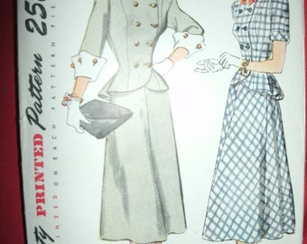 Vintage Simplicity 1866 Sewing Pattern Size 14 Bust 32 1940s TwoPiece Dress