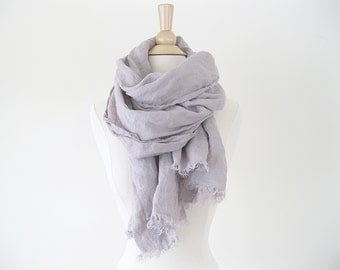 Pastel Linen Sheer Scarf with Fringe | Flax Linen Scarf | Spring Trends Spring Scarf | Pastel Scarf | Pastel Purple
