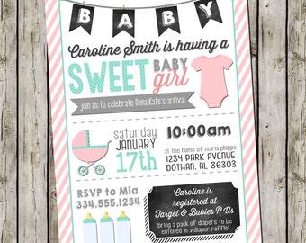 Girl Baby Shower Invitation | Pink Mint Chalkboard | Oh Baby Custom Digital Invitation