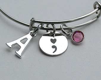 """Stainless Steel """" ; """" Semi Colon, Charm Bangle , Mental Health, Semicolon, Awareness Jewelry, Personalize, Gift For Her , Under 30"""