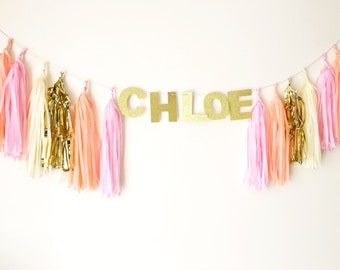 Personalised Tassel garland with glitter name word wedding party events baby shower Christmas decor