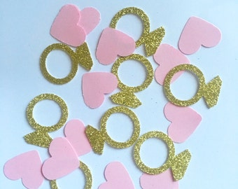 Pink and gold glitter engagement ring/ heart confetti weddings parties babyshower candy buffet table