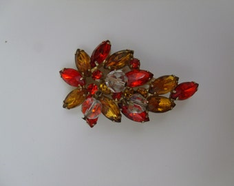 Vintage Red and Yellow Rhinestone Brooch