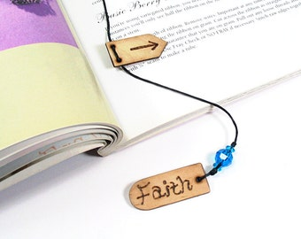 Faith Bookmark with Arrow Page Marker, Womens Bookmark, Wood Bookmark, Book Thong, Turquoise Blue Beaded Bookmark, Christian Gifts