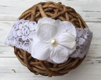 White flower , baby headband, newborn headband, infant headband