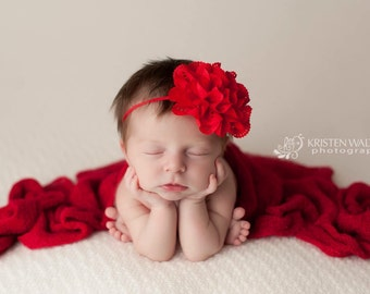 FREE SHIPPING! Flower Headbands - Red Headband, Baby Headband, Valentine's Headband, Red Newborn Headbands, Red Baby Headbands