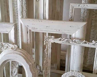 Antique  White Picture Frame Set Of 12 Open Empty Frames Shabby Chic Wall Decor