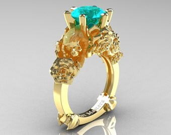 Love and Sorrow 14K Yellow Gold 3.0 Ct Paraiba Tourmaline Skull and Rose Solitaire Engagement Ring R713-14KYGPTU