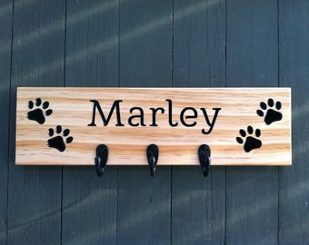 Custom Dog Leash Holder, Personalized, Dog Leash Holder, Dog Leash Hook, Dog Leash Hooks, Dog Leash Hanger, gift for dog lovers