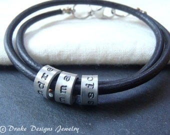 leather mother's day name bracelet with custom name personalized mom gift