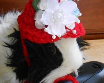 Crocheted Guinea Pig Valentine Hat, Flower Hat, Guinea Pig Clothes, Tiny Pet Bonnet, Valentine Guinea pig Costume