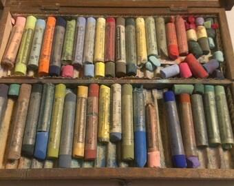 Antique German Hinged Wooden Locking Pastel Artist box, Schmincke, Germany, Free Shipping