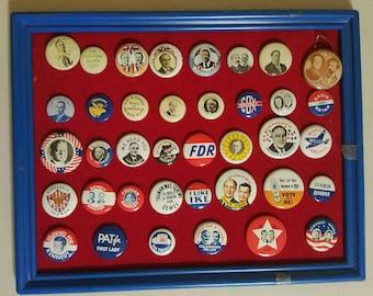 Political Pins, Buttons 1896-1968