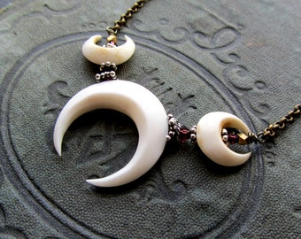 Moon Necklace Double Horn Crescent Moon Pendant ~ Triple Goddess Wiccan Pagan Necklace ~ garnet, silver, brass ~ witchy, Lunula, witchcraft