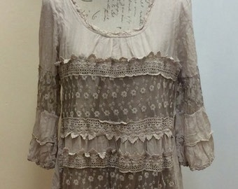 100% cotton Italian made beige lace croched ruffled boho style dress
