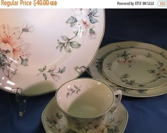 "SUMMER SALE Adams ""Azalea"" Five Piece Place Setting, Floral Ironstone China Place Setting"