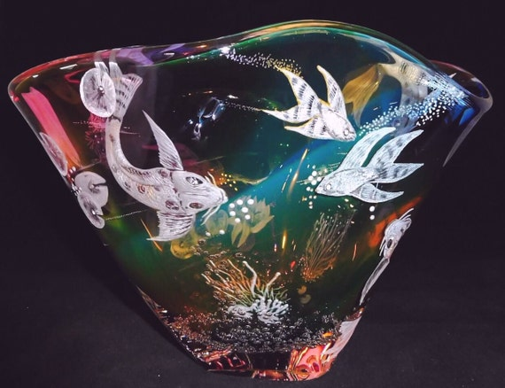 Hand Engraved Bowl, Koi Fish, HandBlown, Engraved, Koi, Homedecor, Wedding Gifts, Birthdays, centerpiece