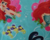 """Doll Blanket/Swaddler Made from Licensed Little Mermaid Print Fabric For Stuffed Animals or Dolls Up To 16"""" Long Like Baby Alive, Waldorf,"""