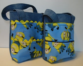 Tote Bag of Denim with Minion Print, Toddler Sized Carry All Bag, Great for Boys and Girls, Minion Tote Bag, School Bag, Daycare Tote, Child