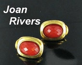 This item is ON SALE JOAN Rivers classic faceted cabochon pierced earrings gold tone designer signed contemporary style