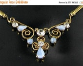 This item is ON SALE Rare 1940s LEO Glass Pale Blue Rhinestone and Glass  Parure Necklace screw back Earring set gold tone vintage
