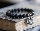 Black Lava, Boho Flower, Sterling Silver, Flower Charm, Bohemian Bracelet, Beaded Bracelet, Black, Stretch Bracelet, Stacking Bracelet
