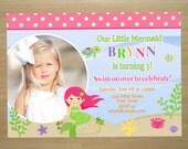 Mermaid Birthday Invitation - Digital File (Printing Services Available)