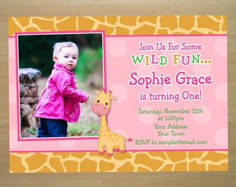 Giraffe Girl Birthday Invitation - Digital File (Printing Services Available)