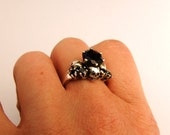 wedding set in sterling with garnet and natural black diamonds