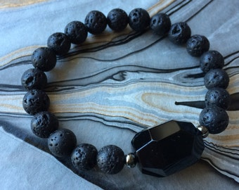 Black Onyx and Lava Bead Stretch Bracelet
