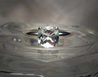 Genuine Aquamarine 7mm Cushion Cut Sterling Silver Solitaire Ring Size 7