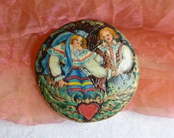 48 HR SALE! Folk Brooch - Hand Painted, Wood Burning  Estonia -Vintage - Stunning!
