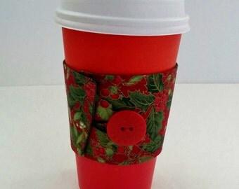 Christmas Coffee Cozy, Holiday Coffee Cozy, Holiday Coffee Cup Sleeve