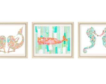 mermaid print nursery decor bathroom art fish art mermaids seahorse art baby girl nursery art kids bathroom art mermaid art aqua coral art