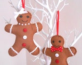 Mr & Mrs Gingerbread Man, Felt Christmas Ornament Decorations