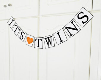 FREE SHIPPING, It's Twins banner, Baby shower decorations, Baby gender announcements, Baby photo prop, Gift for mother and babys, Orange