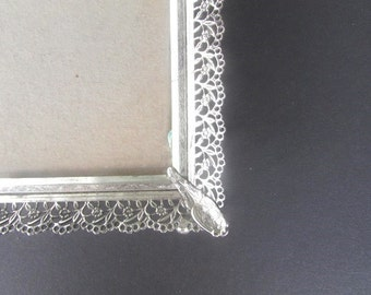 Frame Silver Filigree Vintage Frame Wedding Photo Frame 9 x 7