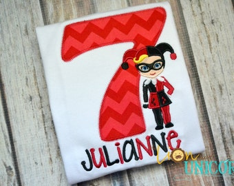 Harley Quinn Birthday Shirt - Number can be changed - DC Super Girls