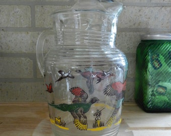 Vintage Hazel Atlas Pheasant Pitcher - iced tea pitcher, vintage kitchen, hunting, hunter, bird dog