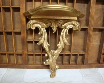 Vintage Syroco Wood Wall Shelf, Florentine Regency French Victorian Gold Shelf
