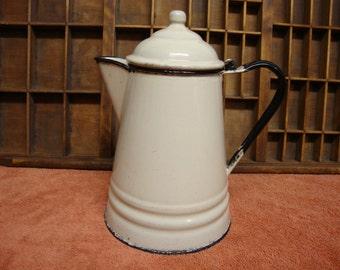 Cream Colored Enemalware Coffee Pot