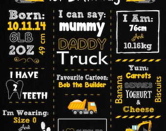 Construction Chalk board 1st Birthday Poster- DIY printing Personalised with your own text!