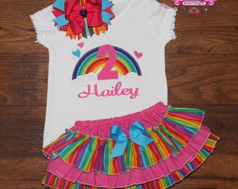 Rainbow First Second Birthday Ruffle Bloomers Outfit