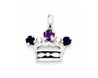 Sterling Silver Amethyst and Iolite Polished Crown Pendant